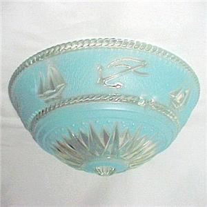 1930s Art Deco Glass Ceiling Fixture Light Shade Bead Chain Nautical Vintage 30s