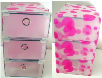 3 drawer organizer 35 2 x 33 x plastic storage box pink dot free postage ebay. Black Bedroom Furniture Sets. Home Design Ideas