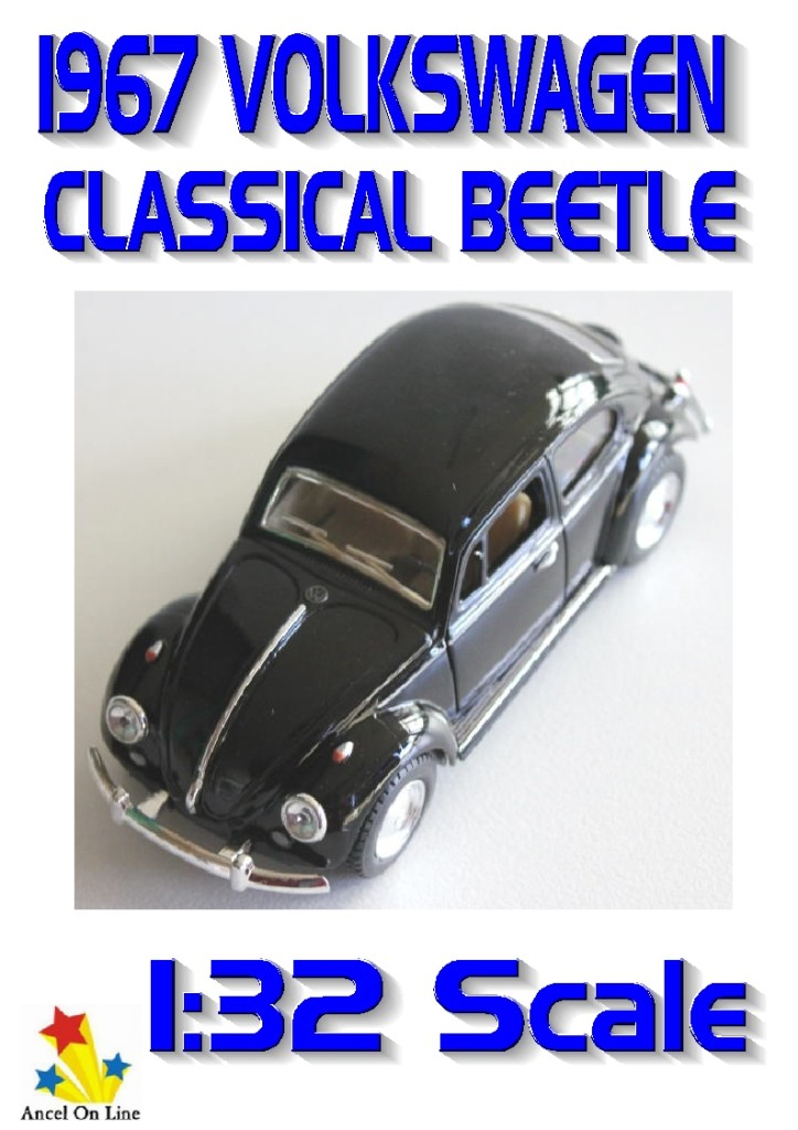 Volkswagen-Classical-Beetle-1967-Diecast-Model-Car-BLACK-1-32-Scale-Detailed-New