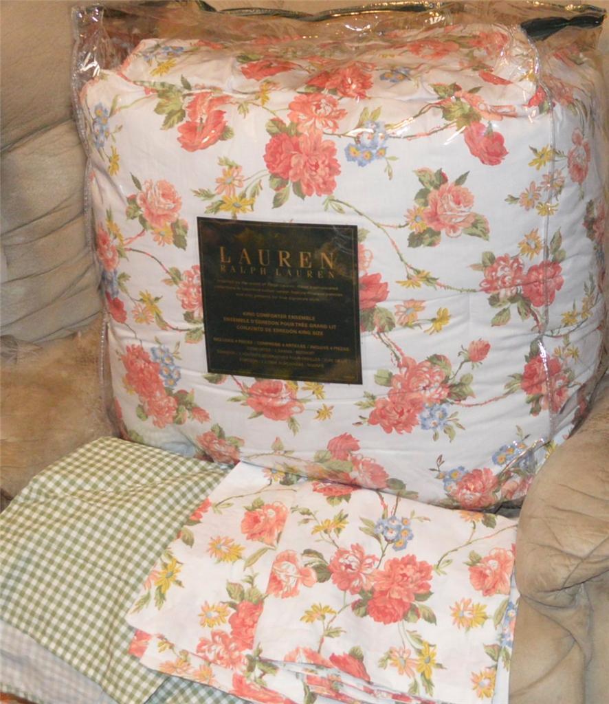 Details about ralph lauren daniella floral king or queen comforter set