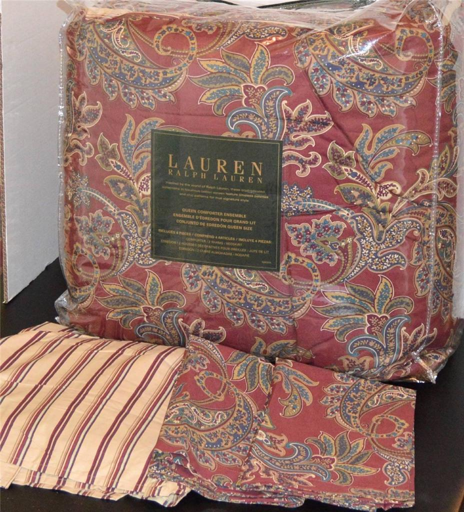 Ralph Lauren Rustic Red Paisley Queen Comforter Set New
