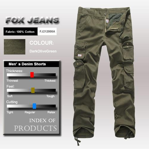 NEW-MENS-FOXJEANS-CARGO-CAUSAL-MILITARY-ARMY-MENS-WORK-PANTS-TROUSERS-SIZE-34