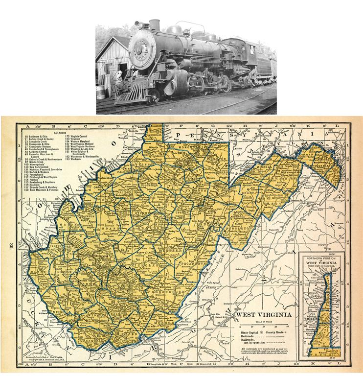 1939 WEST VIRGINIA RAILROAD MAP SHOWS ALL RR DEPOTS TOWNS