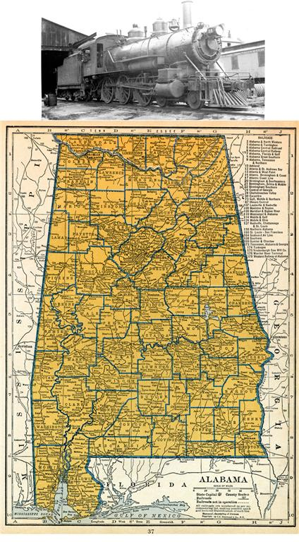 1939 ALABAMA RAILROAD MAP SHOWS ALL RR DEPOTS TOWNS AT N