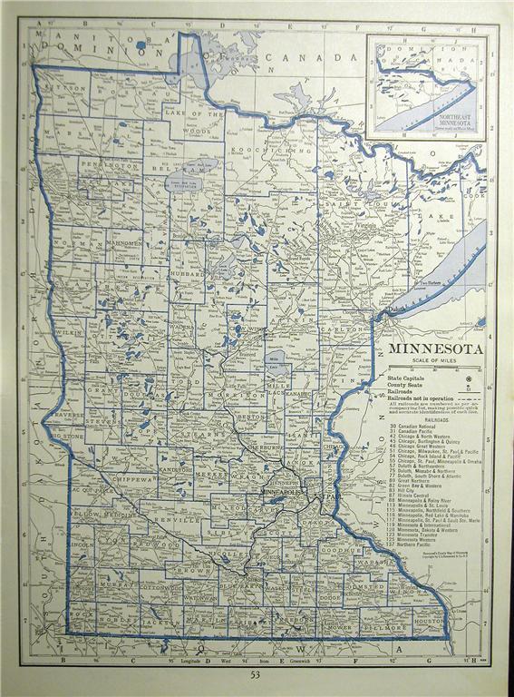 1930 MINNESOTA MISSISSIPPI RAILROAD MAP SHOWS ALL RR S MN
