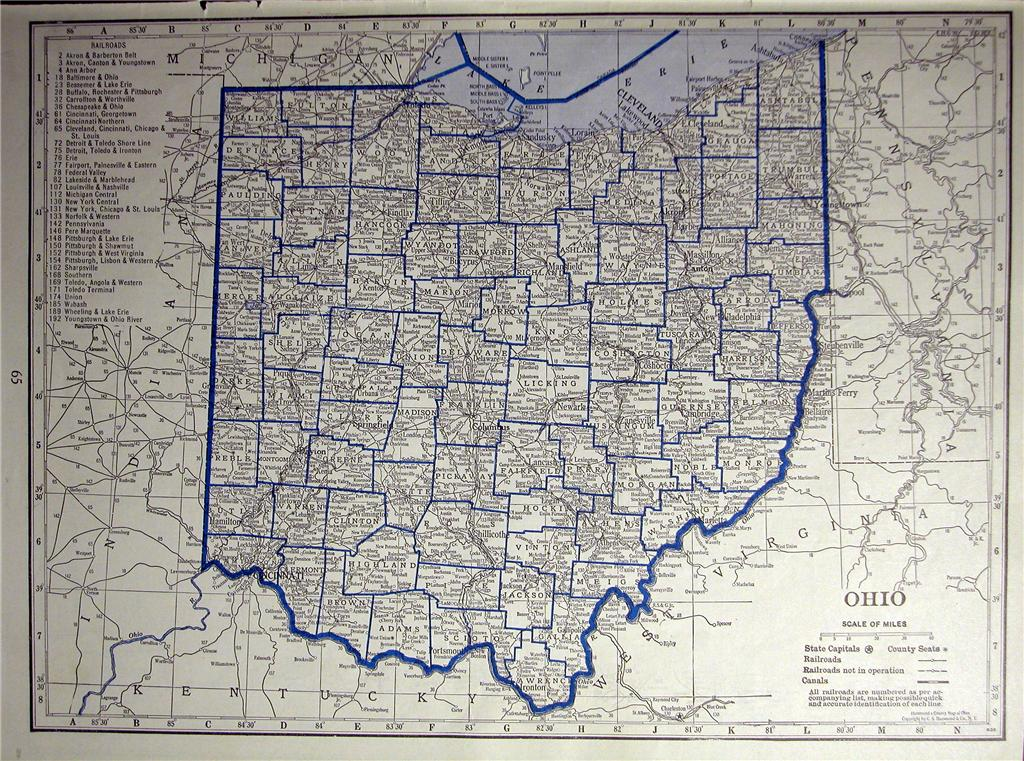 1930 OHIO OKLAHOMA RAILROAD MAP SHOWS ALL RR S DEPOT  OH