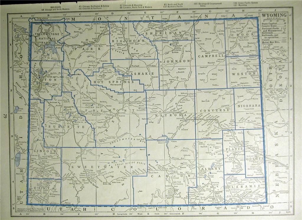 1930 WYOMING ALASK RAILROAD MAP SHOWS ALL WY RR S DEPOT