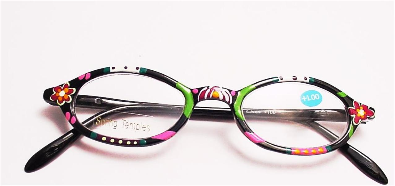 Eyeglass Frames Paint : Oval Hand Painted Spring Temple Reading Glasses 1.00 *R212