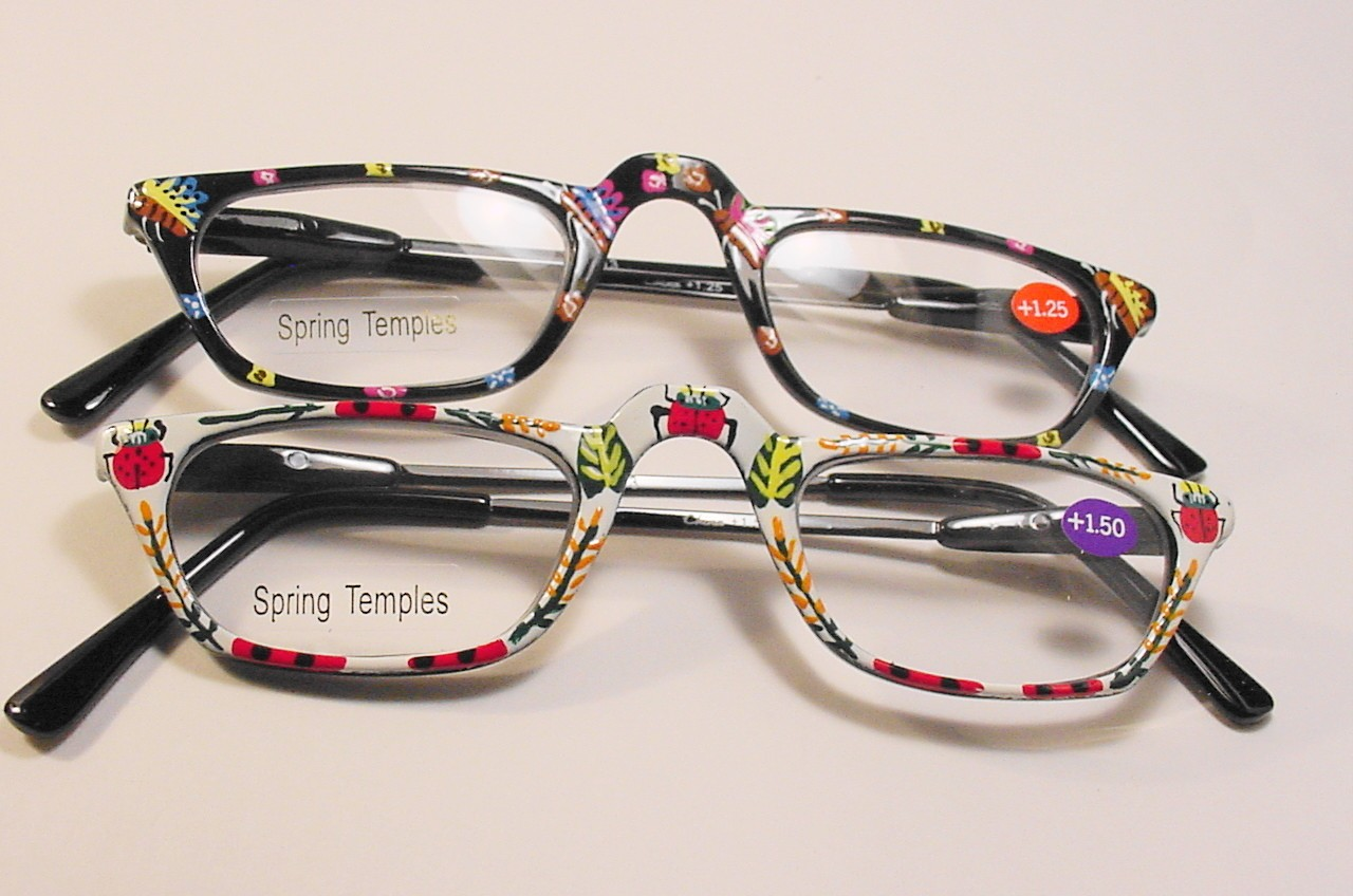 Paint For Glasses Frame : Hand Painted Black Frame Spring Temple Reading Glasses, +1 ...