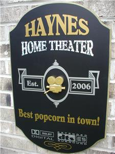 Personalized Custom US Made 3D Wood SignsHome theater