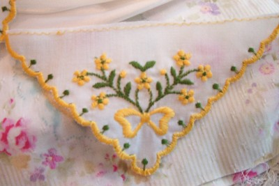 12~Embroidered Yellow Lace Triangle APPLIQUES Baby Doll