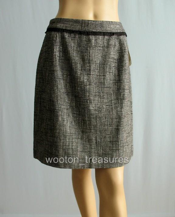 Kate Spade Picnic Tweed Skirt Cream Black Linen 10