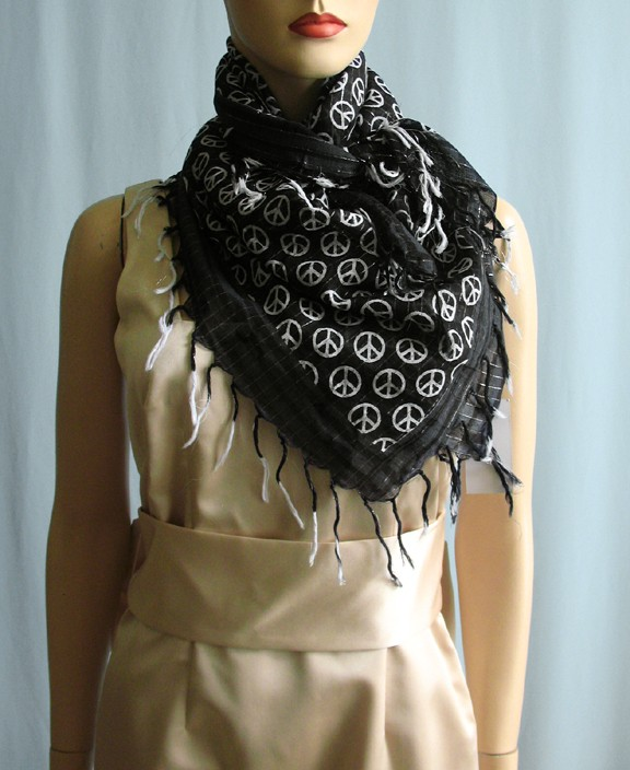 Steve Madden Black Square Peace Signs Print Scarf 2430