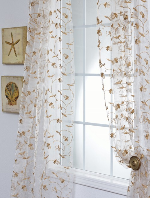 fiona floral off white embroidered organza sheer curtain
