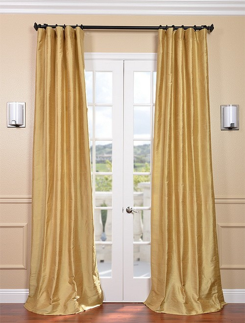 Exclusive Fabrics & Furnishings, LLC Sunrise Gold Textured Dupioni Silk Curtains, 50 X 120 at Sears.com