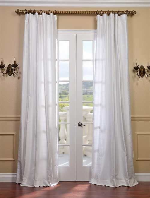 Exclusive Fabrics & Furnishings, LLC Lily White Textured Dupioni Silk Curtains, 50 X 108 at Sears.com