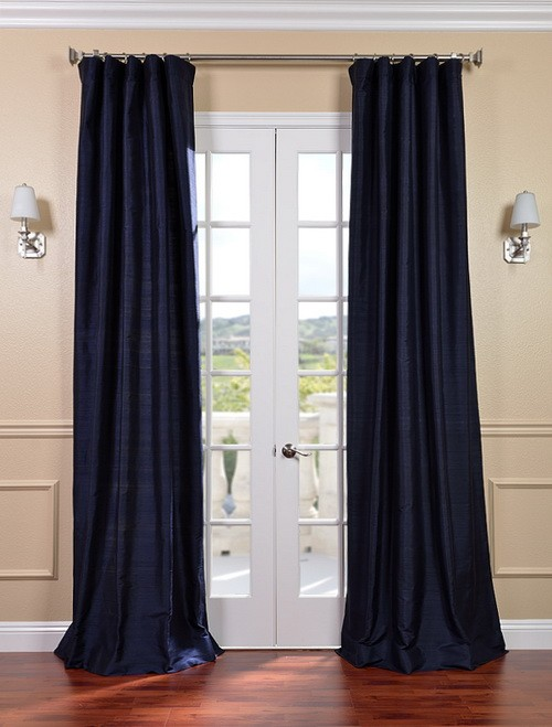 Exclusive Fabrics & Furnishings, LLC Navy Textured Dupioni Silk Curtains, 50 X 108 at Sears.com