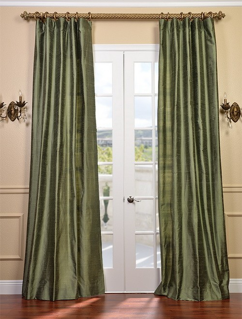 restful green textured dupioni silk curtains drapes ebay