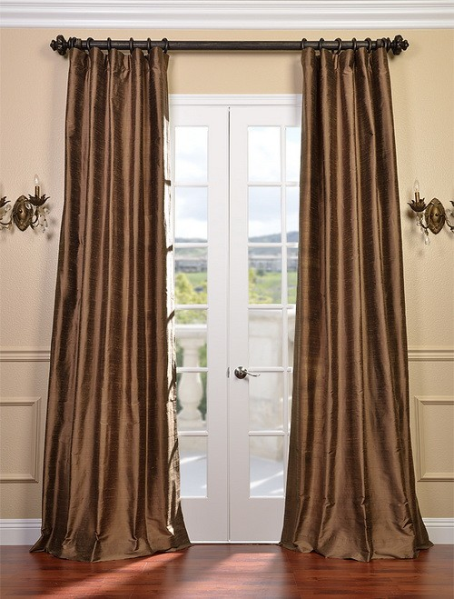 mocha textured dupioni silk curtains drapes ebay