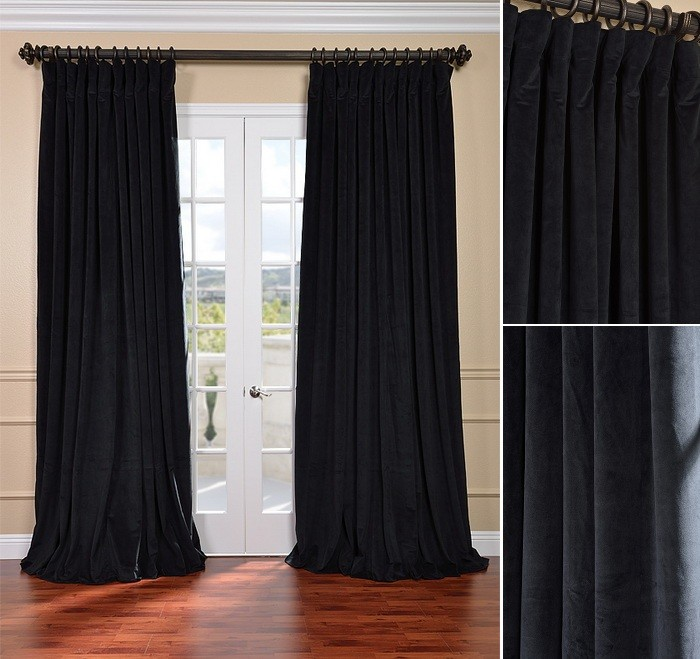 Double Wide Velvet Blackout Curtains 100 X 96 Black