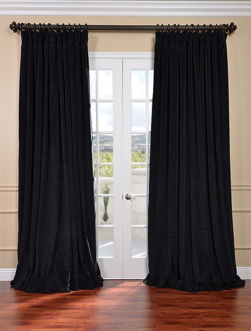 Signature black double wide velvet blackout pole pocket for Double width curtain lining
