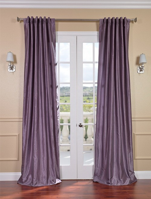 Exclusive Fabrics & Furnishings, LLC Smoky Plum Vintage Textured Faux Dupioni Silk Curtains, 50 X 120 at Sears.com