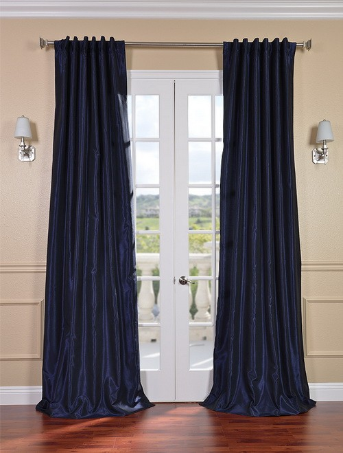 Exclusive Fabrics & Furnishings, LLC Lunar Blue Vintage Textured Faux Dupioni Silk Curtains, 50 X 108 at Sears.com