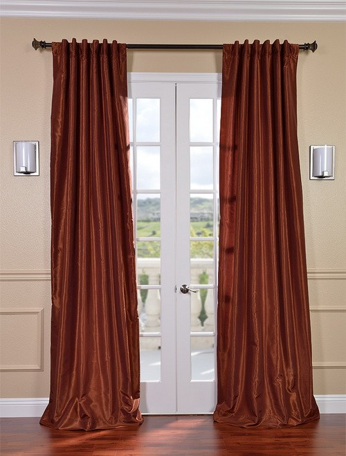 Exclusive Fabrics & Furnishings, LLC Burnt Orange Vintage Textured Faux Dupioni Silk Curtains, 50 X 120 at Sears.com