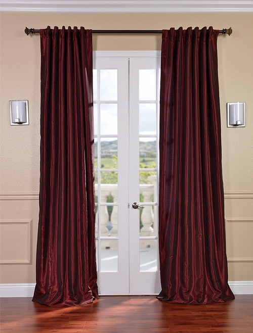Exclusive Fabrics & Furnishings, LLC Ruby Vintage Textured Faux Dupioni Silk Curtains, 50 X 96 at Sears.com