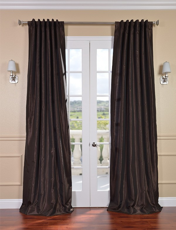 Exclusive Fabrics & Furnishings, LLC Coffee Bean Vintage Textured Faux Dupioni Silk Curtains, 50 X 120 at Sears.com