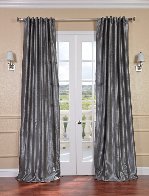 Exclusive Fabrics & Furnishings, LLC Storm Grey Vintage Textured Faux Dupioni Silk Curtains, 50 X 108 at Sears.com