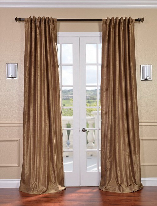 Exclusive Fabrics & Furnishings, LLC Flax Gold Vintage Textured Faux Dupioni Silk Curtains, 50 X 120 at Sears.com