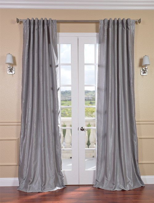 Exclusive Fabrics & Furnishings, LLC Silver Vintage Textured Faux Dupioni Silk Curtains, 50 X 96 at Sears.com