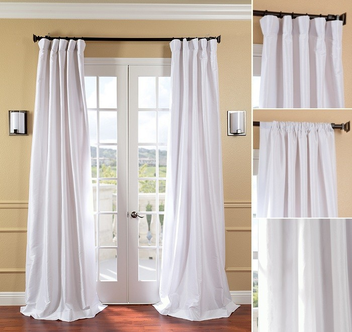 Faux Solid Taffeta Drapes 50 X 96 White