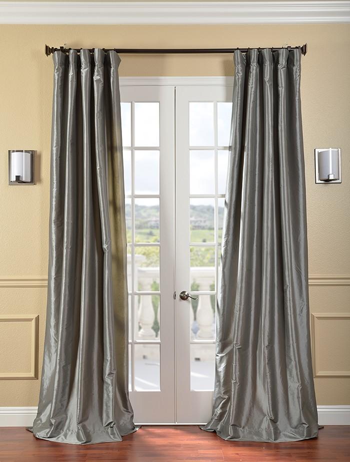 Details about Platinum Faux Silk Taffeta Curtains & Drapes