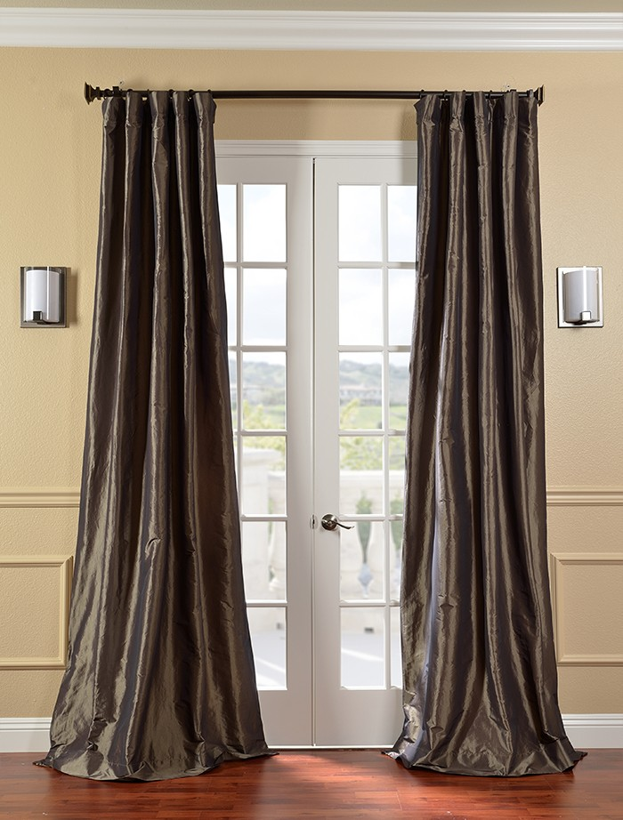 Mushroom Faux Silk Taffeta Curtains Drapes Ebay