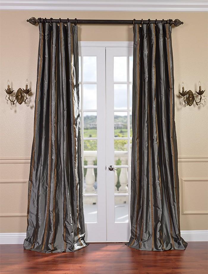 Preston Designer Silk Taffeta Stripe Curtains Drapes Ebay