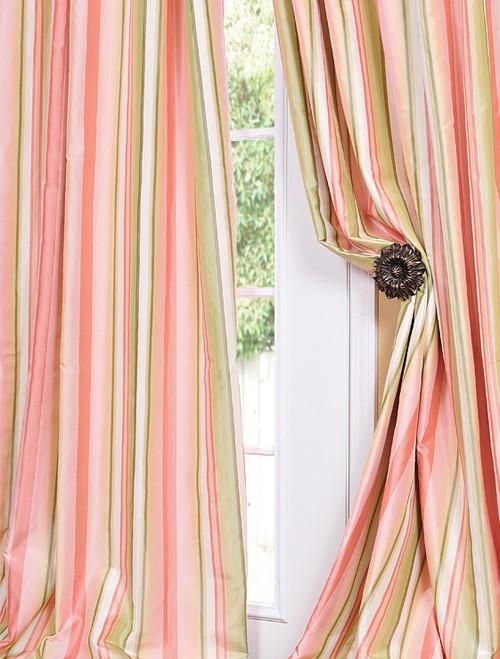 Serendipity Designer Silk Taffeta Stripe Curtains Drapes