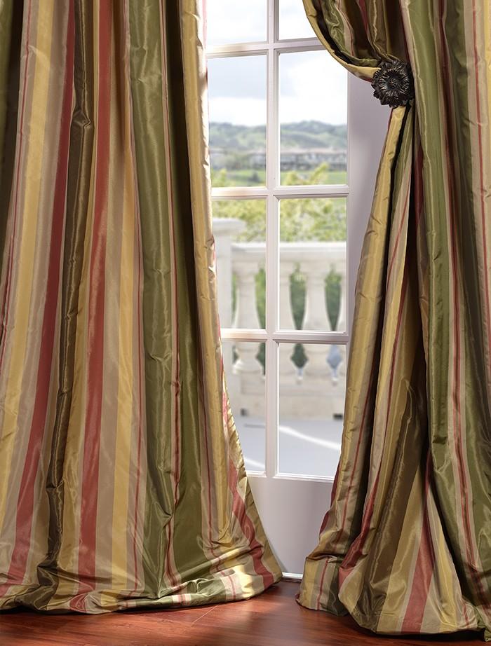 Pacific Heights Designer Silk Taffeta Stripe Curtains Drapes