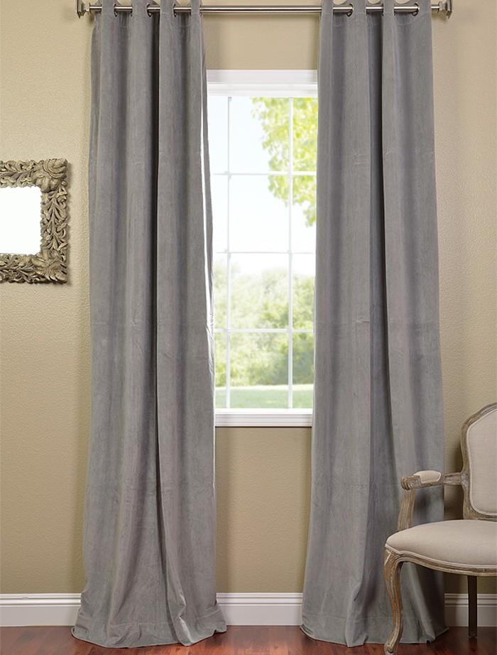 silver grey grommet velvet blackout curtains drapes. Black Bedroom Furniture Sets. Home Design Ideas