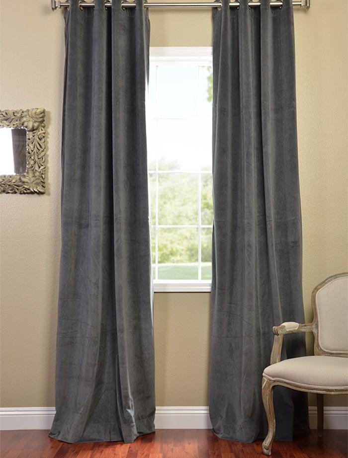 Natural Grey Grommet Velvet Blackout Curtains Drapes Ebay