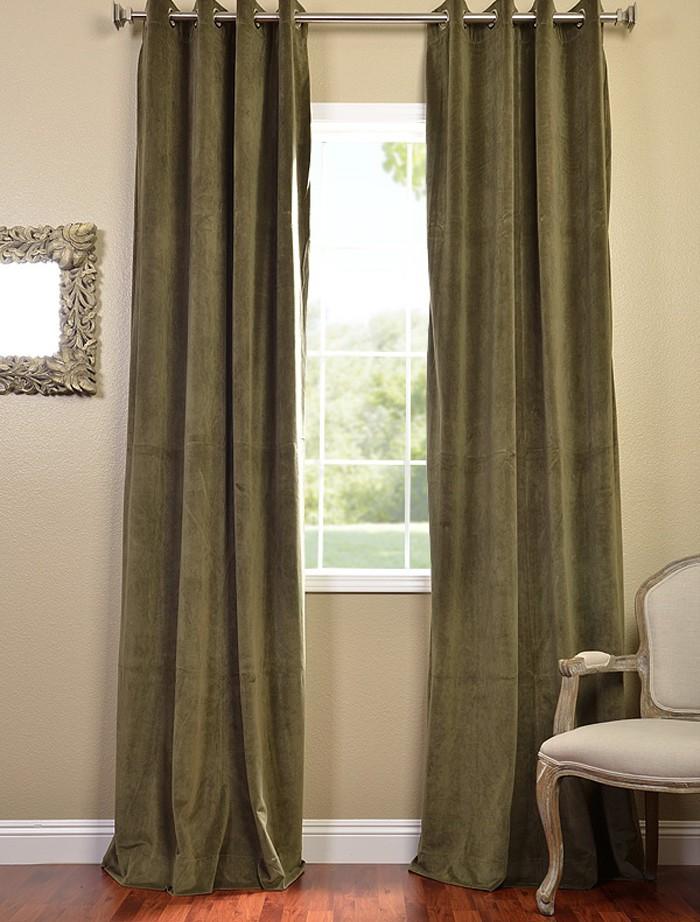 hunter green grommet velvet blackout curtains drapes ebay. Black Bedroom Furniture Sets. Home Design Ideas