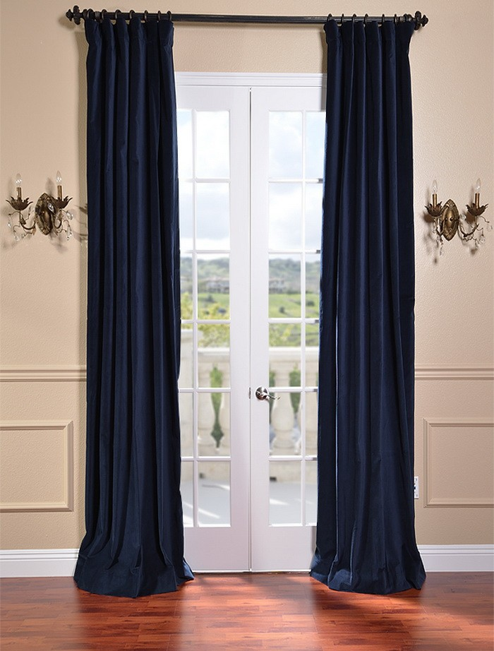 indigo blue vintage cotton velvet curtains drapes ebay