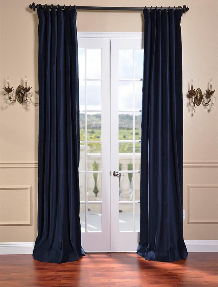 indigo blue vintage cotton velvet curtains drapes ebay