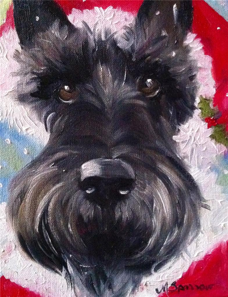 DAILY PAINTERS MARKETPLACE: Scottish Terrier Christmas Painting