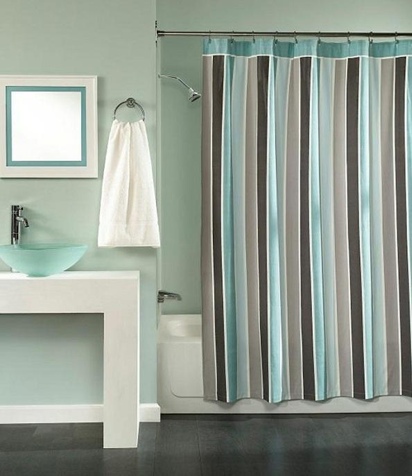 Peri East End Stripe Sea Mist Aqua Gray Shower Curtain