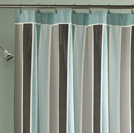 Peri East End Stripe Sea Mist Aqua Gray Shower Curtain EBay
