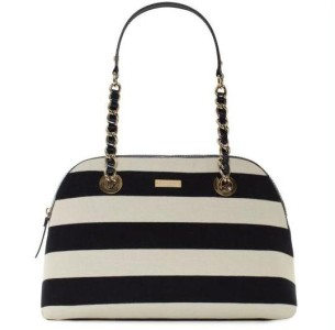Authentic KATE SPADE Academy Stripe Larissa Shoulder Bag White Black