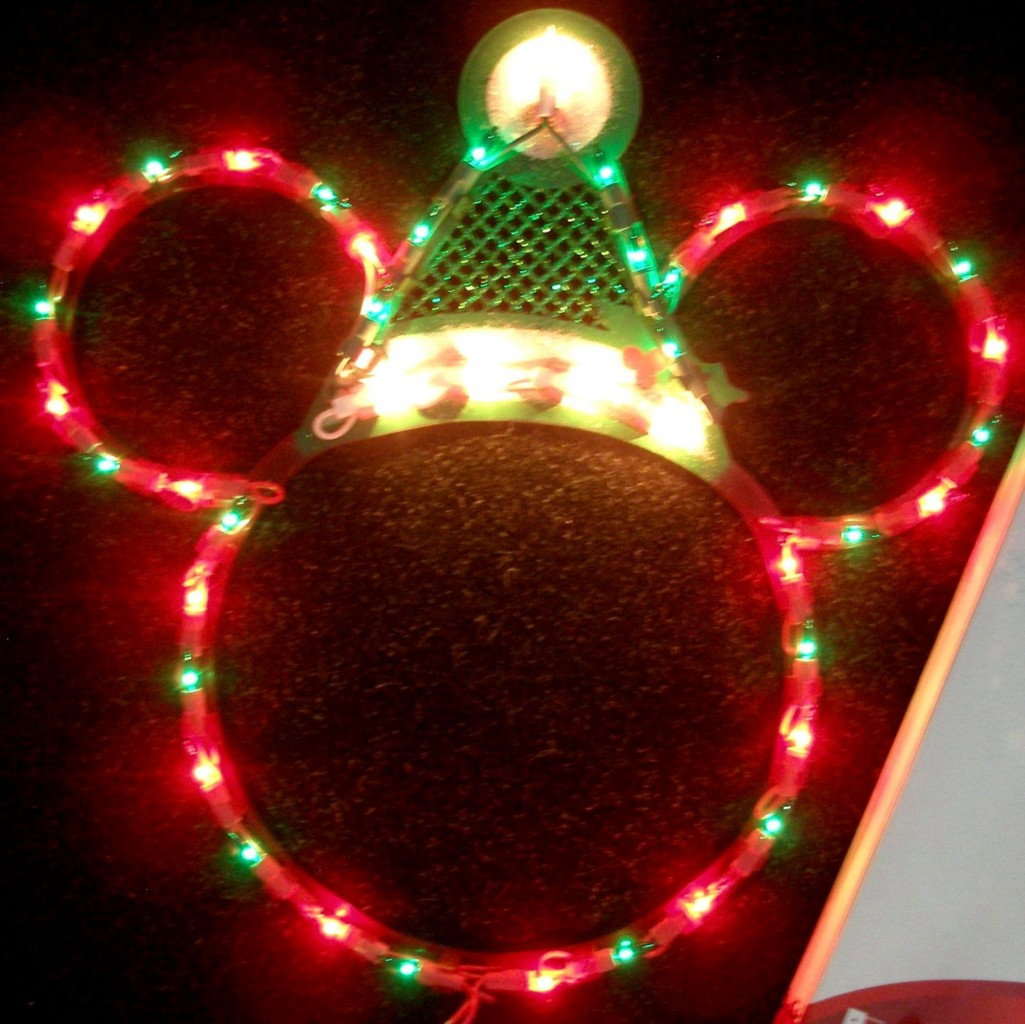 about disney santa mickey mouse ears lighted christmas decorationnew