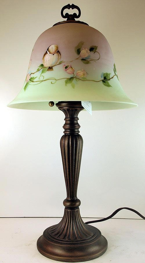 details about fenton hand painted bell shade lamp in burmese glass. Black Bedroom Furniture Sets. Home Design Ideas
